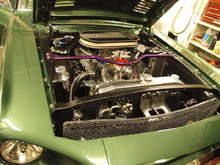 Engine Bay - Ford small (tall) block 351w. March Performance Serpentine pulley setup up front,