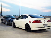 my car and my bro's old RSX-S... now he has a gray mkV gti.