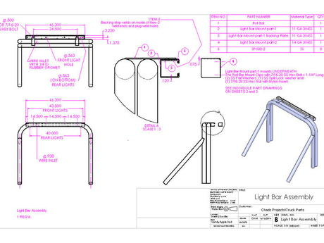 Light Bar Assembly drawing page 1 of 3