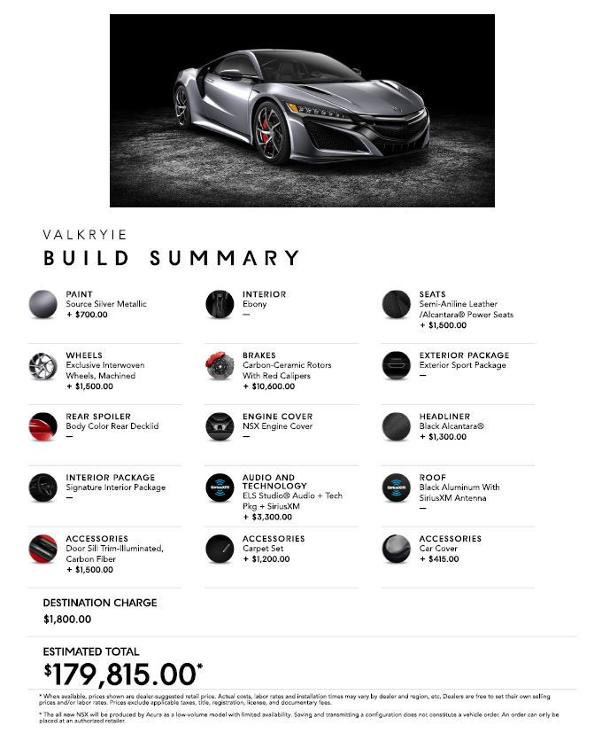 2017 NSX Online Configurator Is Up A Little Early