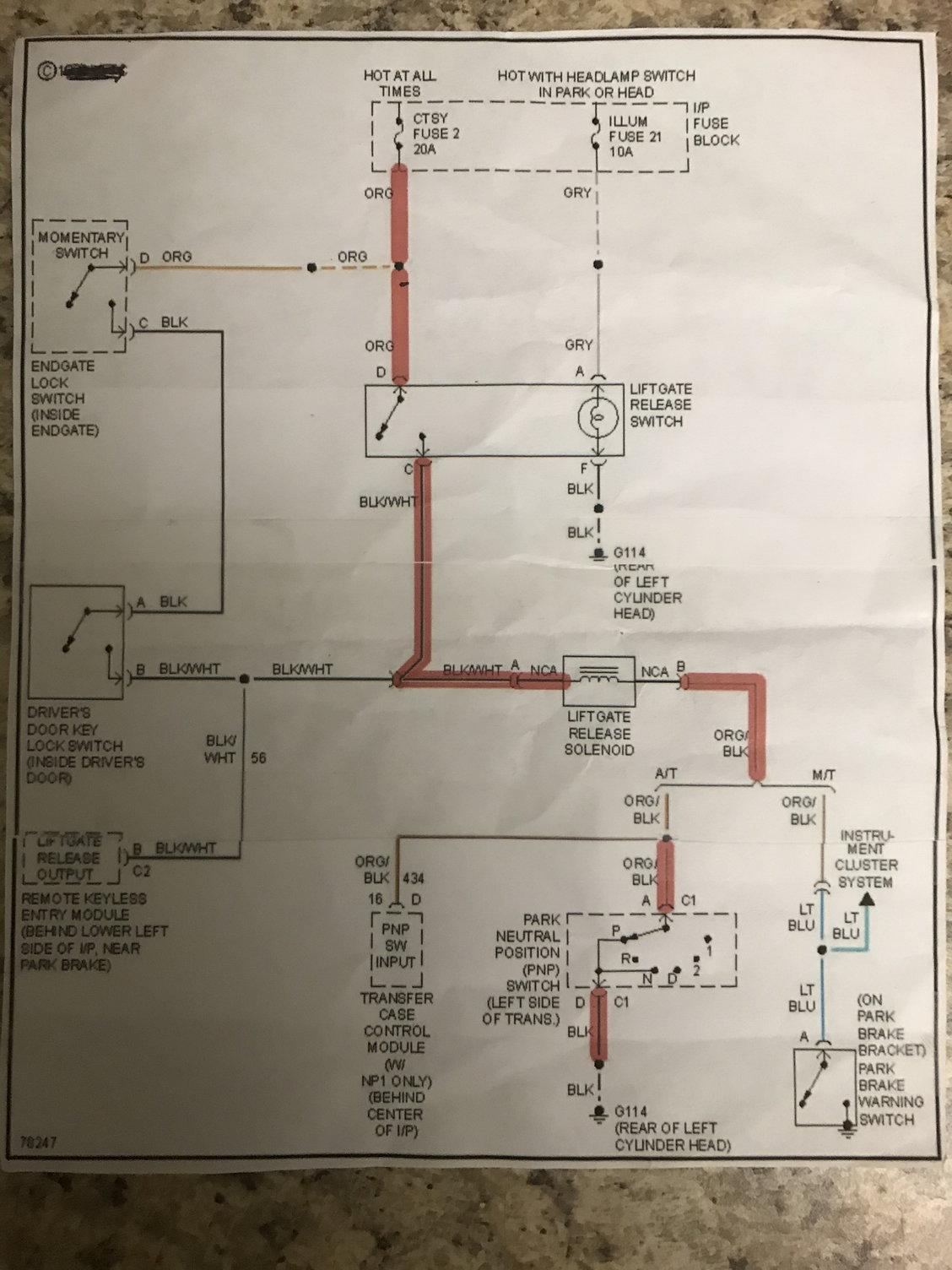 Endgate Lock  Release Wire Diagram - Blazer Forum