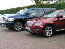 Showing the size difference compared to a BMW X6