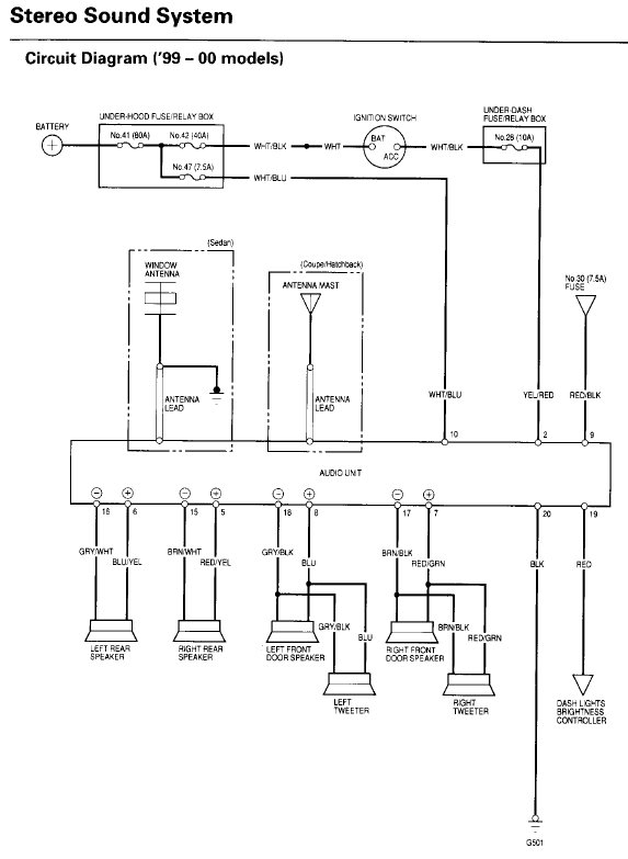 99-00 Civic OEM radio wiring diagram - Honda-Tech - Honda ...