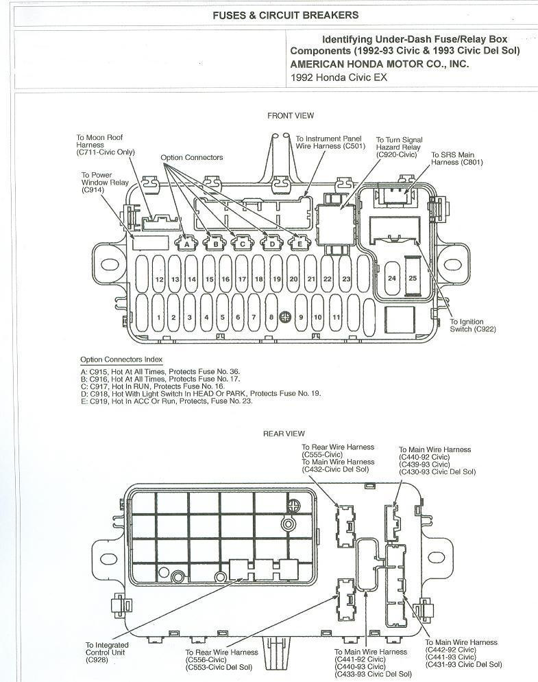 1993 Accord    Ex    4dr under dash fuse    diagram        Honda   Tech     Honda    Forum Discussion