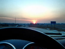 Sunset behind the wheel.