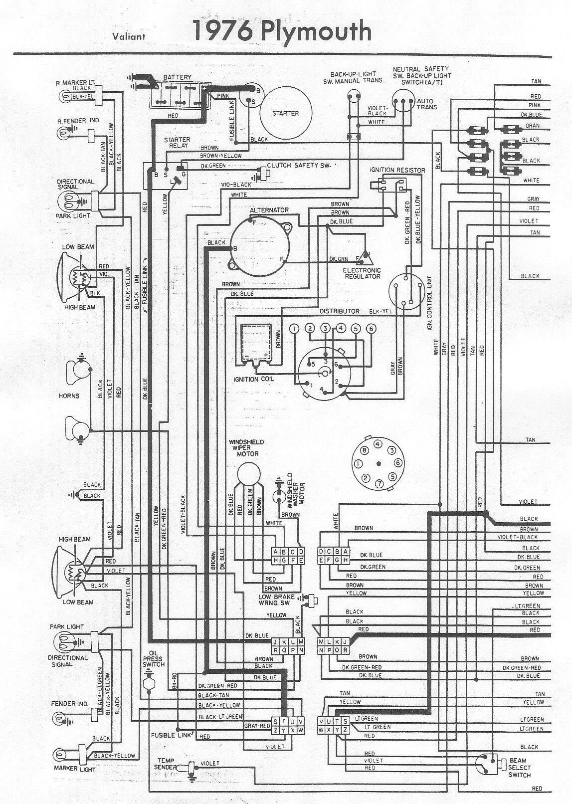 1976 Plymouth Valiant Dash Wiring - Mopar Forums on