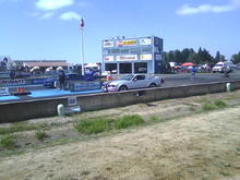 Ford Fever day at Woodburn drags. My wife rolling up to the starting line for the first time in her life.