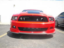 Turbo heat exchanger shows just a little through the CDC Performance Grille and Roush lower grille.
