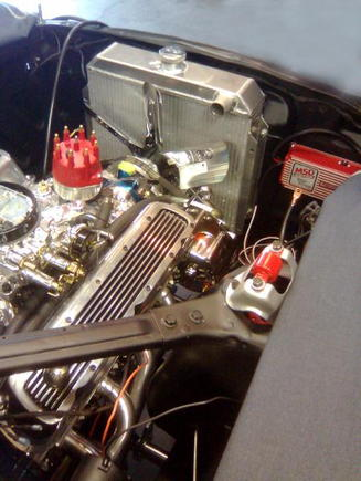 A rear/side view of the engine bay