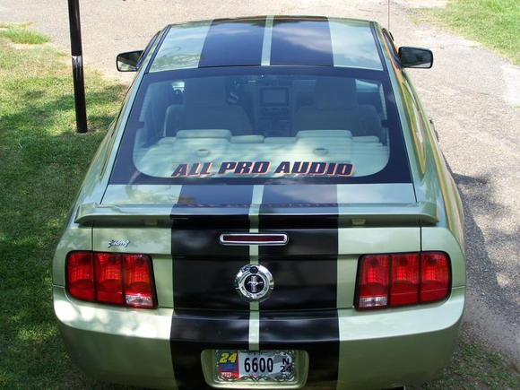 2006 Mustang Legend Lime after the stereo upgrade..look closely.