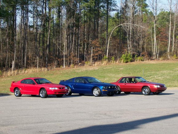 My Stang, Step mom's old GT, Dad's old built 92 Fox