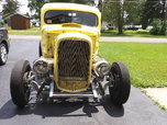 32 Ford coupe frame, chopped and channeled 46 Ford cab.