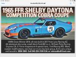 1965 FFR Shelby Daytona Competition Coupe All Aluminum sbf    for sale $95,000