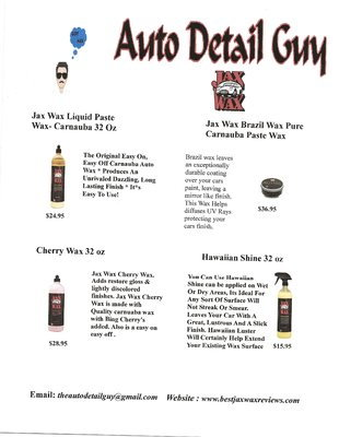 THE AUTO DETAIL GUY and Jax Wax Car Care Products