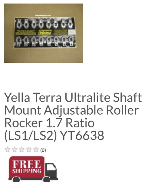 Yella Terra 1.7 LS1/LS2 style head rockers  for Sale $500