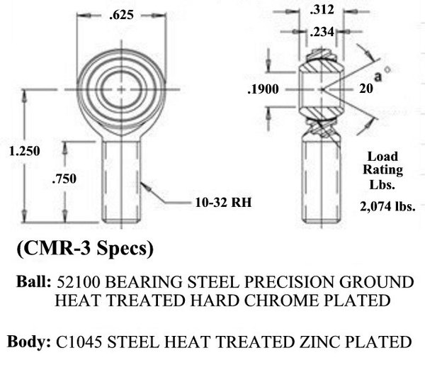 3/16 X 10-32 Economy Male RH Rod End CMR-3  for Sale $2.80
