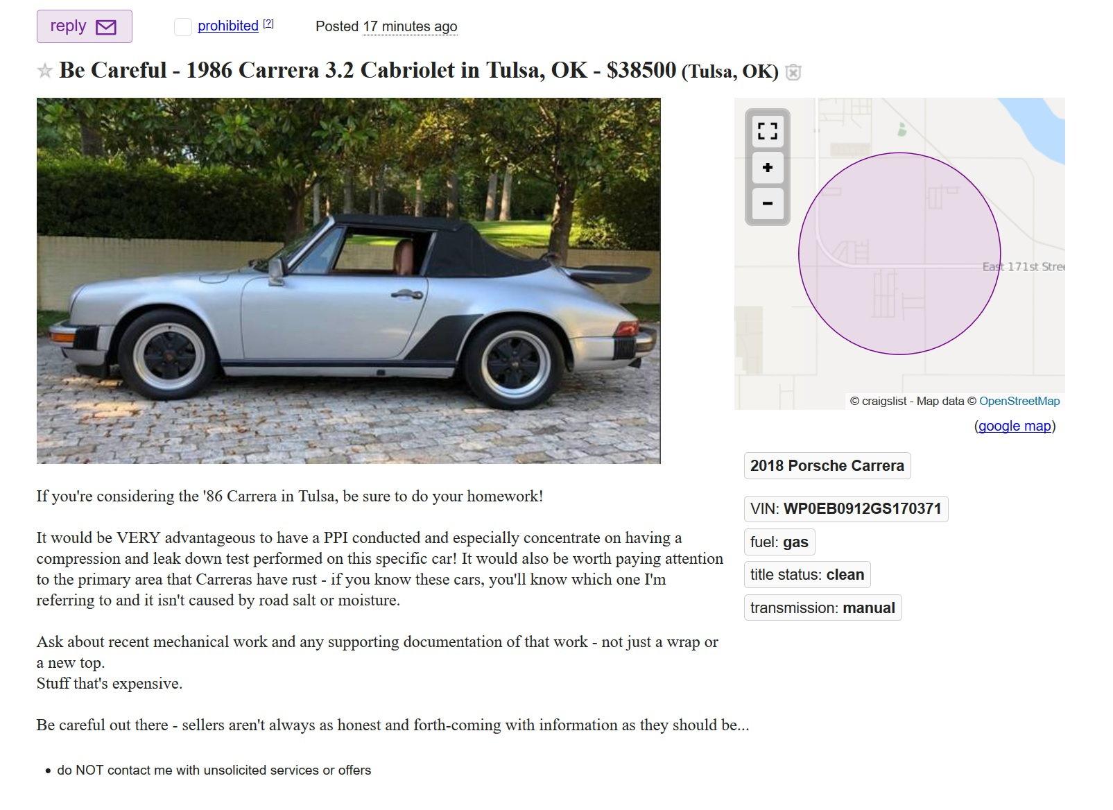 Craiglist Warning 1986 Cab Tulsa OK - Rennlist - Porsche ...