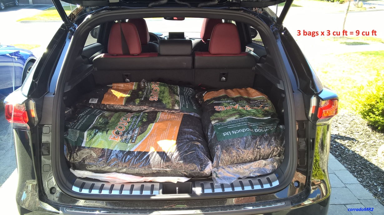 proves without a doubt the cargo volume of 17 6 cu ft is up to the tonneau cover and the total volume behind the rear seats is 28 cu ft 0 5 cu ft