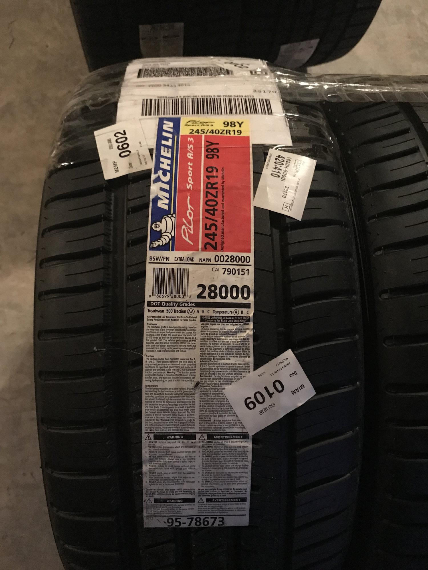 245 40 20 >> MS FS: 4 Michelin Pilot Sport AS3 (2) 245/40/19 & (2) 275 ...