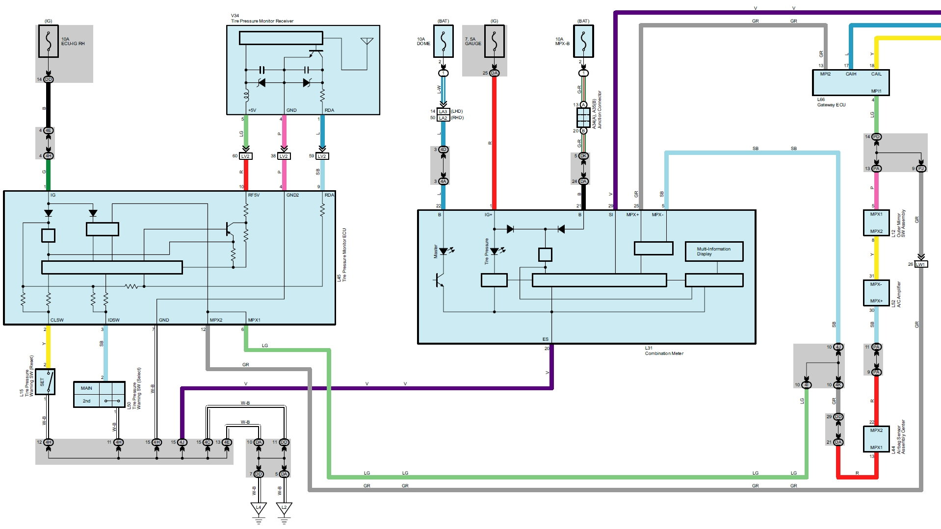 First, the Full schematic for the for 2006 GS300 and GS430 system is  (attached). The image below is partial: