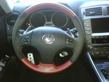 TurinModel Black Alcantara and Red perforated Leather steering wheel