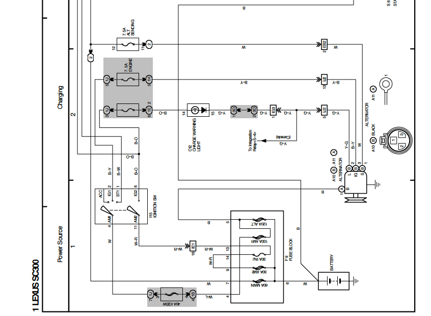 here is a screenshot of the early 1992-1994 sc300 alternator wiring  schematic  as you'll see in the picture, the older style round alternator  plug is shown
