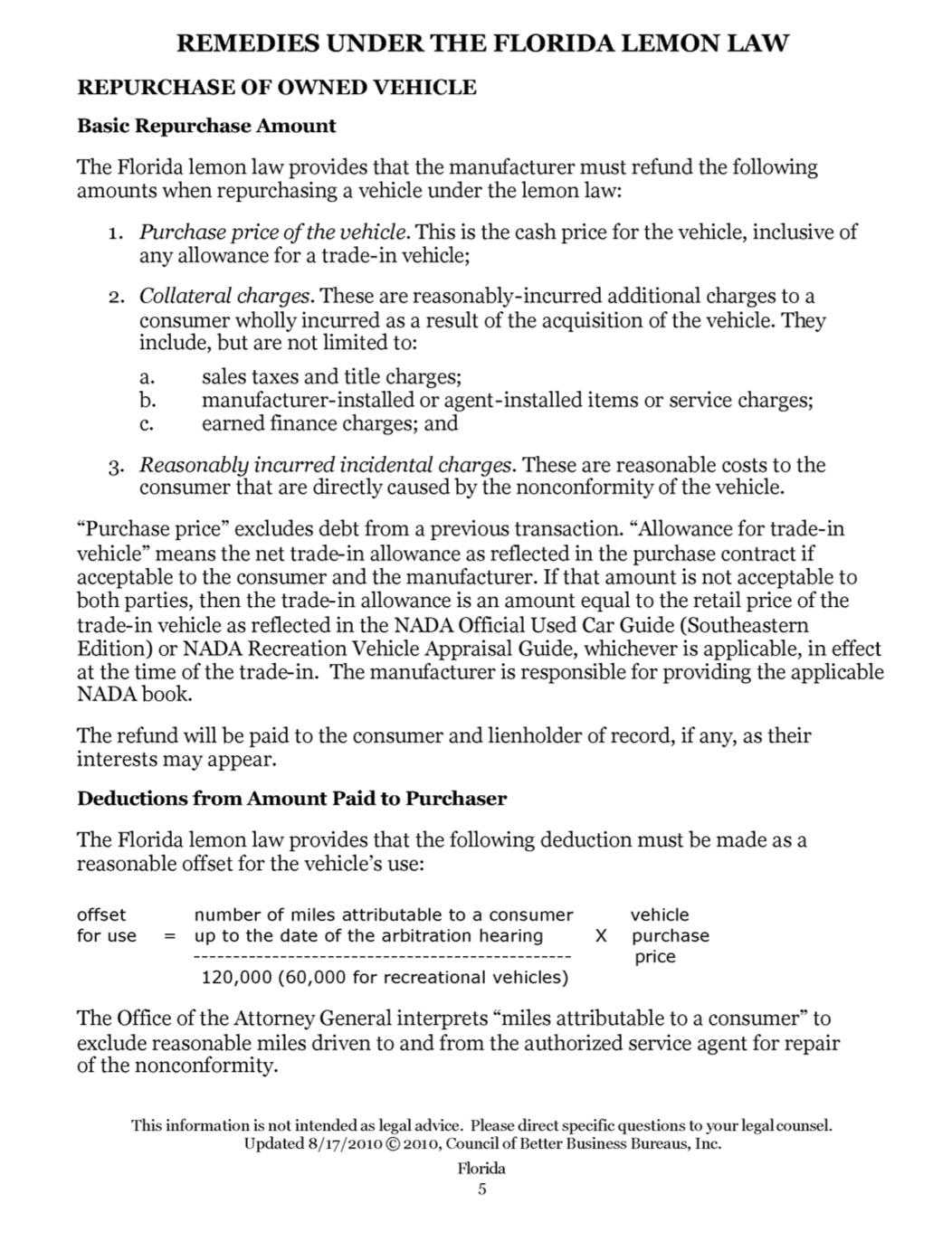 BEWARE using BBB Autoline arbitration to settle Lemon Law