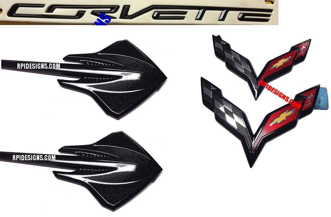 2014-2019 C7 Corvette Genuine GM Carbon Flash Stingray Fender Emblems Set Of 2