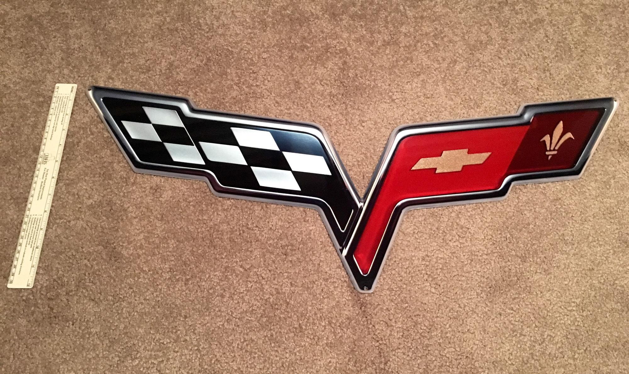 Corvette Signs Garage : C flags logo and z emblem steel wall signs garage art