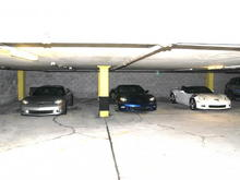 A Monterey Plaza Hotel & Spa parking garage gathering of C6 Z06's, in town for the '08 Laguna Seca ALMS. From the left; Roger's, Benny's, and mine. They're all the same; yet, each is very different.