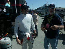 With Patrick Dempsey in his pit, at the '09 Laguna Seca Grand-Am. I'm the one on the right.