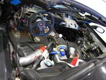 Interior in progress - note Momo wheel and custom ratchet shifter