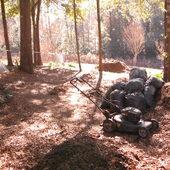 Lawn mower used for shredding leaves