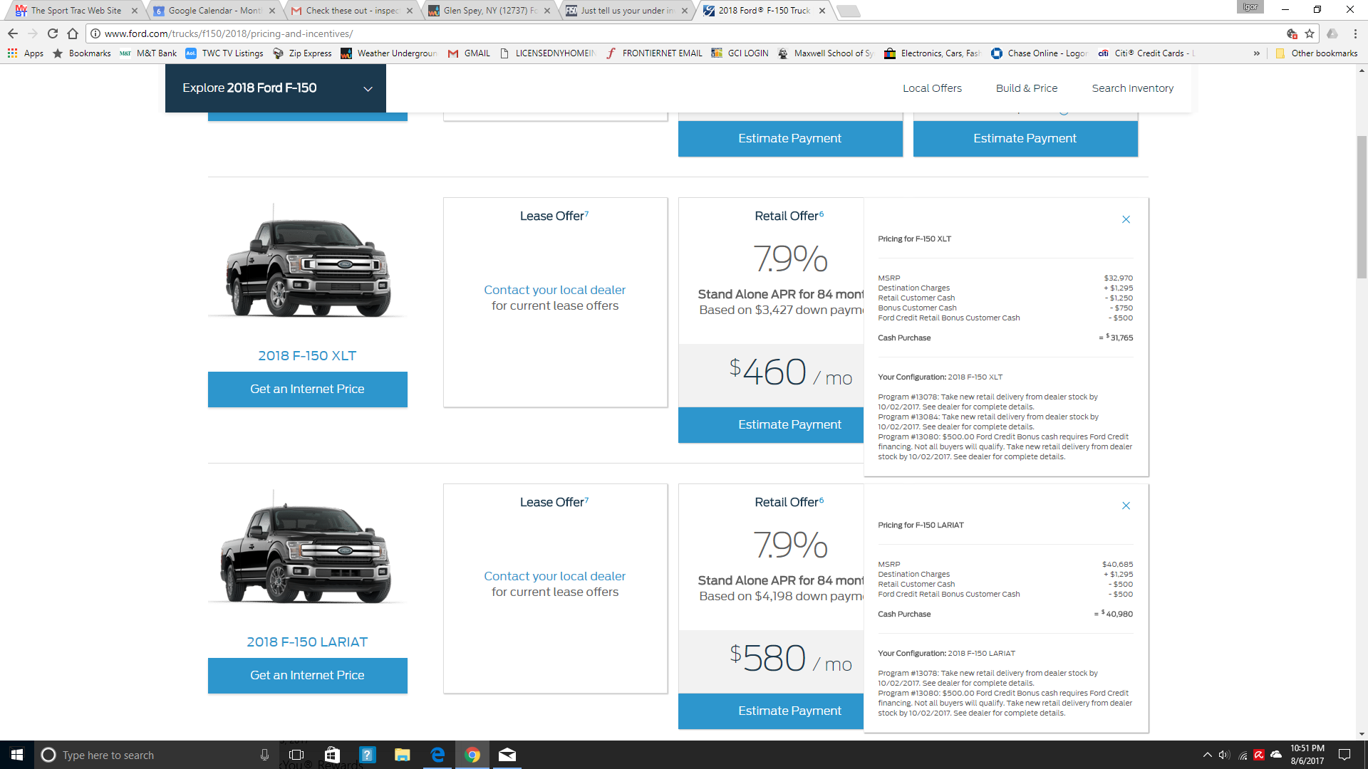 It comes up on ford com website along with the available incentives