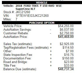 Just Tell Us Your Under Invoice Price Paid Page Ford F - 2018 f 150 invoice price