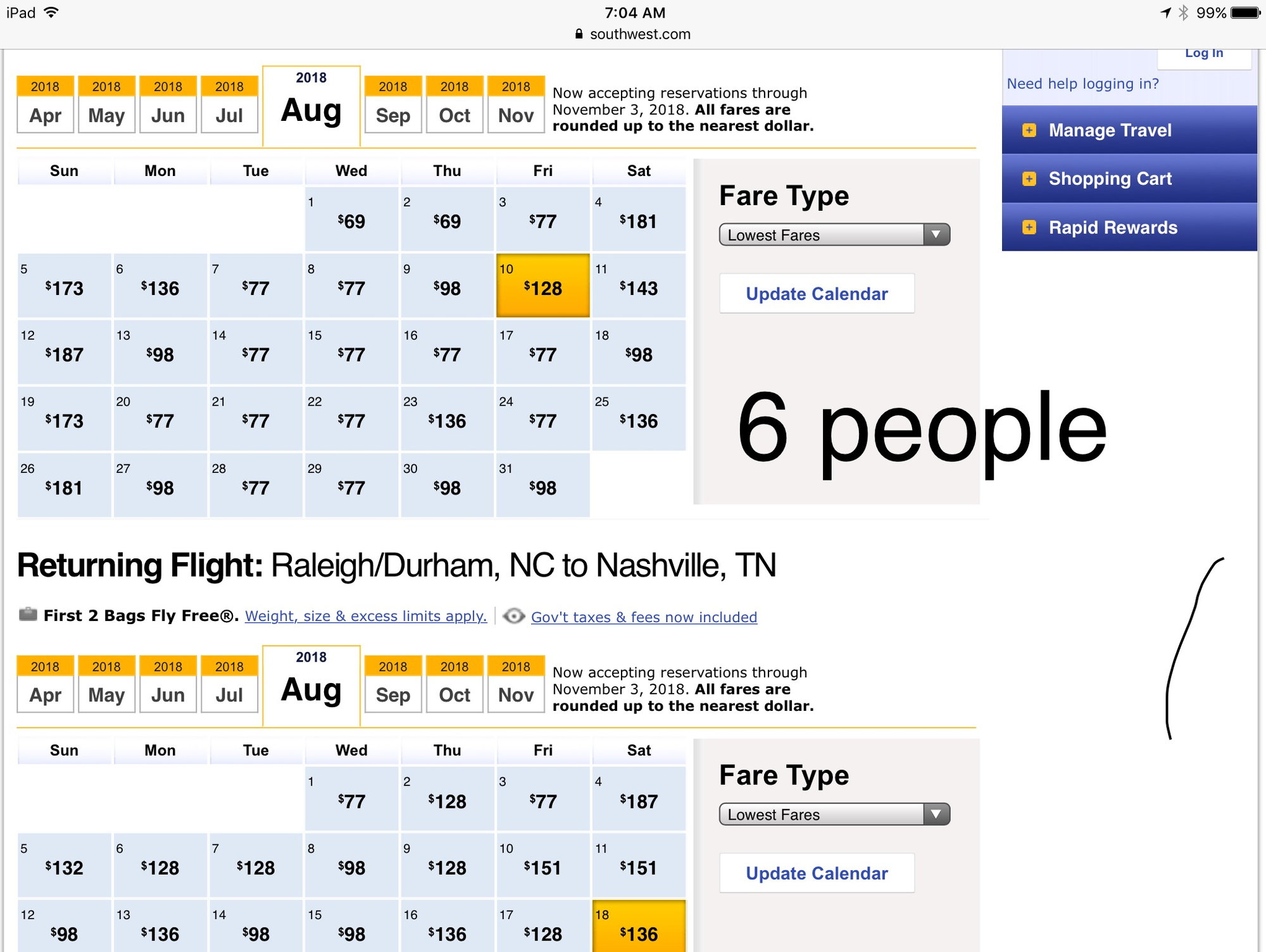 Low Fare Calendar Varies Based On Of People Flyertalk