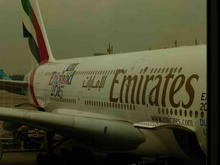 Emirates A380 at gate at DUS.