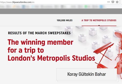 30 million miles sweepstakes - FlyerTalk Forums