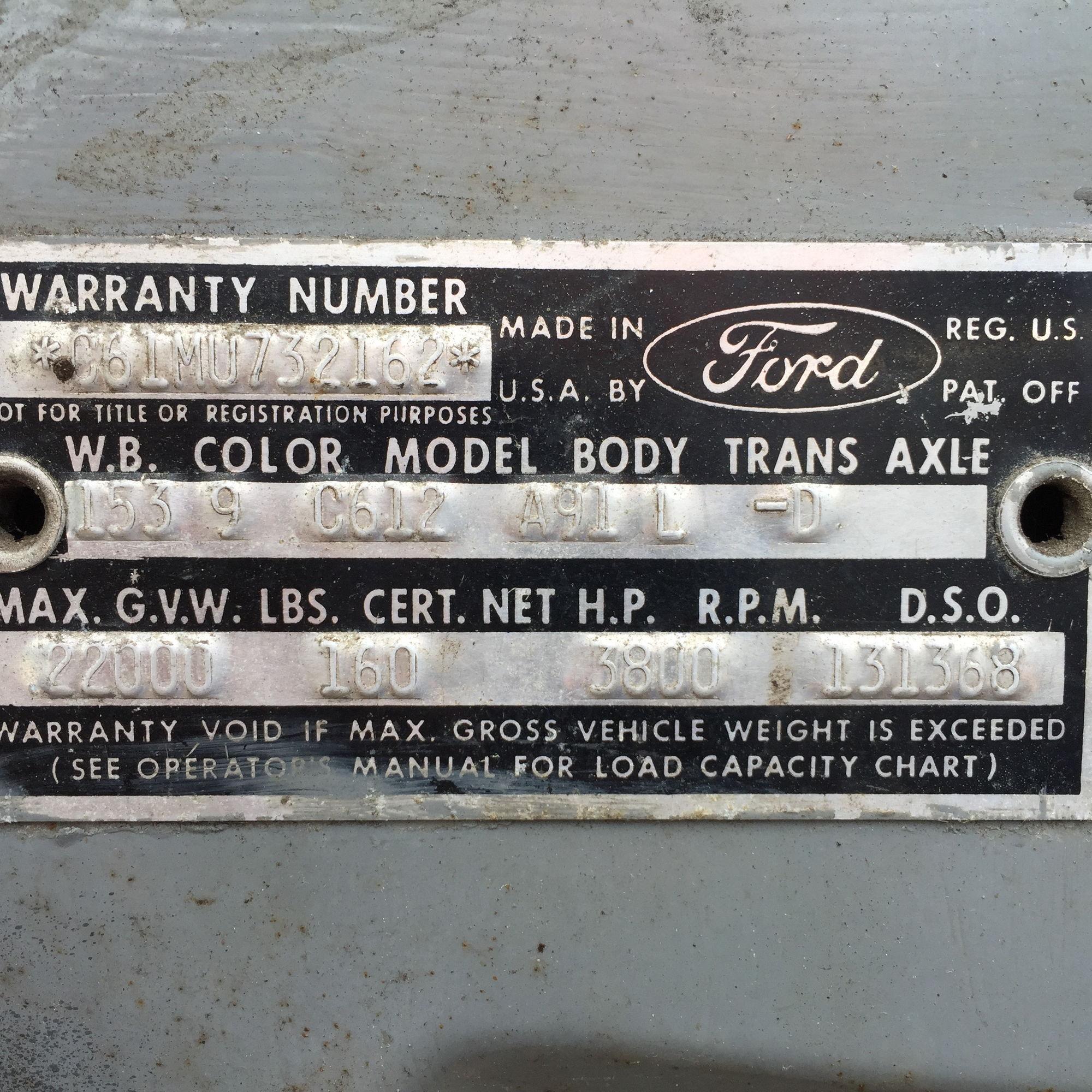 1965 c600 help finding parts vin decoder
