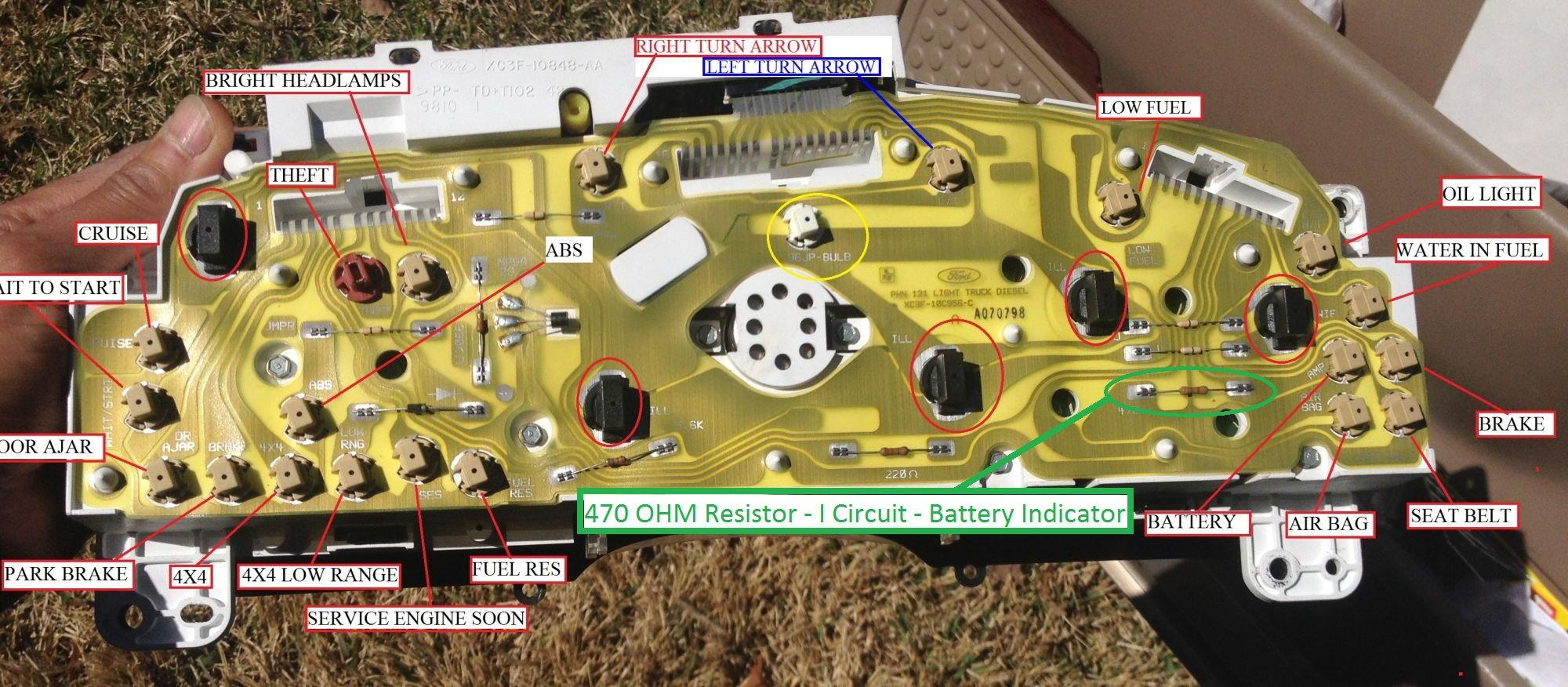 99 f250 diesel battery light on