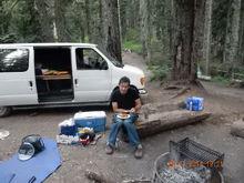 Engineer Dan eating lunch.