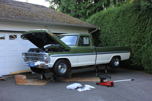 F100 ready to get its rebuilt transmission.