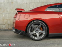 Project 6GR FIVE Satin Graphite Rear Side View TOYO R888 315/30/20 Nissan GTR