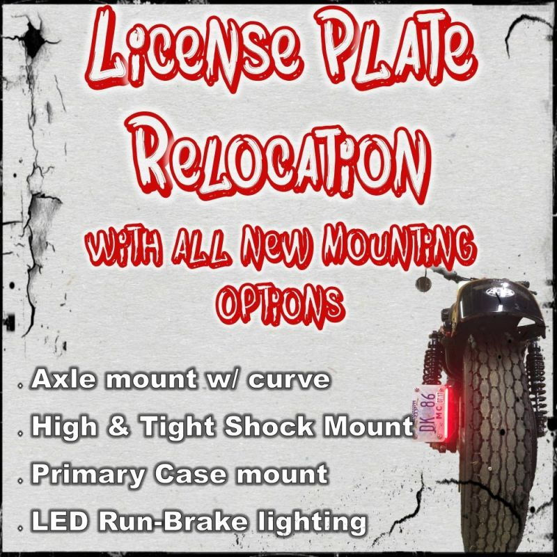Brake Light M8 SOFTAIL License Plate Relocation Kit Primary Mounted Curved w//Optional LED Run