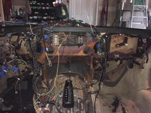 The dash with all the heating and AC components removed.  Let the cutting begin.