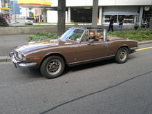 My son driving my Triumph Stag in Basel CH