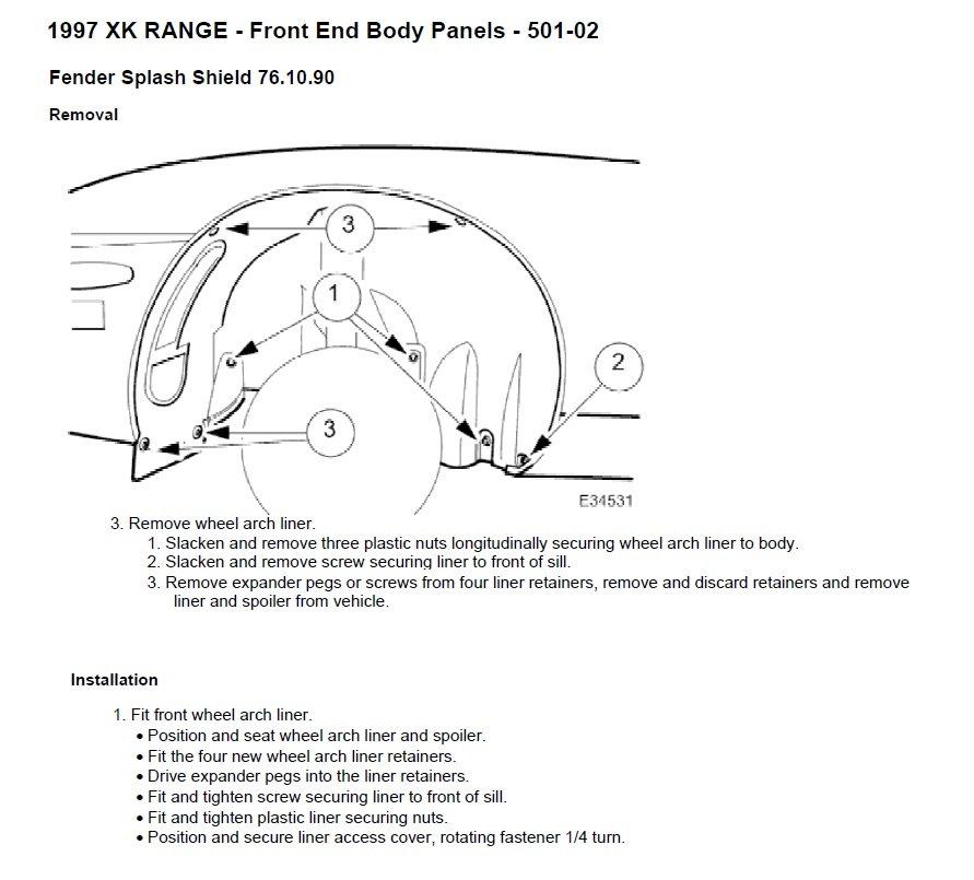 How to unfasten wheel well liner? - Jaguar Forums - Jaguar