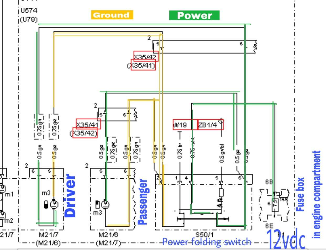 W202 To W210 Power Folding Mirror Upgrade Forums Led Diode Wiring Diagram Motor Same On And From What I Have Seen The Wis But Keep In Mind Is Considering Euro Version My C43 Does Not