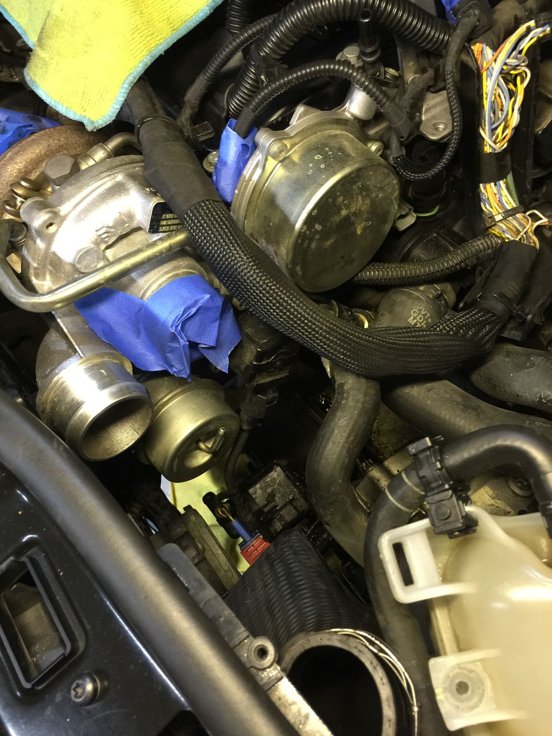 Oil Leak Burning Losing Coolant North American Motoring Engine Burn I Loosened And Bent Back The Large Rubber Hose Going Into Turbo Giving Me Enough Room To Get Down See Two Aux Water Pump Bolts Which Then