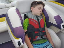 the youngest catching a nap after swimming